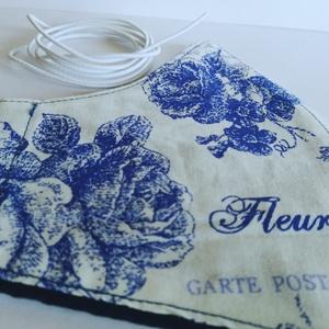 Kék rózsás mintájú szájmaszk/arcmaszk felnőtt, női, NoWaste, Táska, Divat & Szépség, Textilek, Nagyon kényelmes, kétrétegű szájmaszk sűrű szövésű dizájn textilből. Belül drapp apró virágos pamutv..., Meska