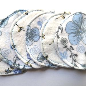 Mosható arctisztító, sminklemosó korong/ párna pamutból/ Kék Virágos , Táska, Divat & Szépség, NoWaste, Szépség(ápolás), Egészségmegőrzés, Textilek, Praktikus és ökomegoldás az arctisztítás terén használható pamutból készült korongok, melyek akár te..., Meska