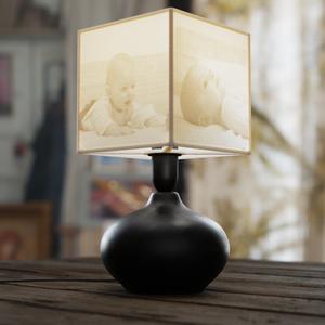 Egyedi fényképes kerámia lámpa - fekete kerámia, Otthon & Lakás, Lámpa, Hangulatlámpa, Fotó, grafika, rajz, illusztráció, A fényképes lámpa kiváló ajándéktárgy évfordulóra, születésnapra, névnapra, nagyszülőknek, gyerekekn..., Meska