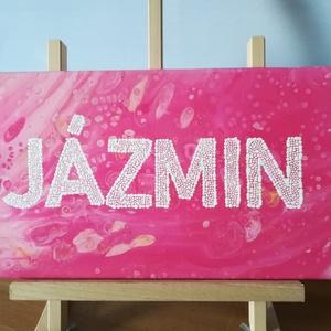 Pontozott-folyatásos akril festmény - JÁZMIN - 20x40 cm, Otthon & lakás, Képzőművészet, Festmény, Akril, Festészet, Folyatásos és pontozó technikával készült egyedi akril festmény. A rózsaszín, fehér és barack színek..., Meska