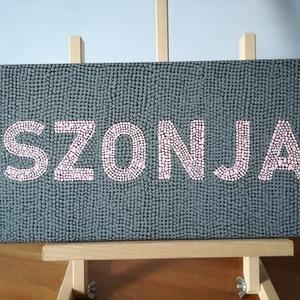 Pontozott akril festmény - SZONJA - 20x40 cm, Otthon & lakás, Képzőművészet, Festmény, Akril, Festészet, Pontozó technikával készült egyedi akril festmény. A feketével lealapozott vászonra rózsaszínnel pöt..., Meska