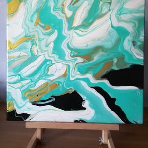 Folyatásos (fluid) akril festmény 40x40 cm, Otthon & lakás, Képzőművészet, Festmény, Akril, Festészet, Folyatásos technikával készült egyedi akril festmény. A festmény uralkodó színei a türkiz és a fehér..., Meska