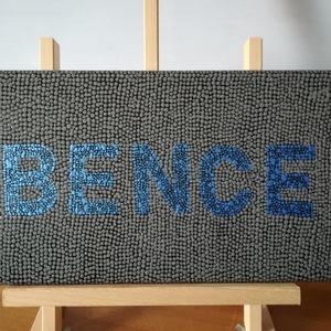Pontozott akril festmény - BENCE - 20x40 cm , Otthon & lakás, Képzőművészet, Festmény, Akril, Festészet, Pontozó technikával készült egyedi akril festmény. A feketével lealapozott vászonra sötétkékkel pött..., Meska