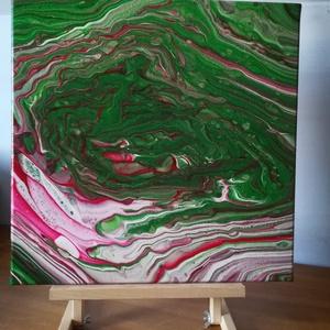 Folyatásos (fluid) akril festmény, Otthon & lakás, Képzőművészet, Festmény, Akril, Festészet, Folyatásos technikával készült egyedi akril festmény, amely a magyar zászló színeit tartalmazza. Az ..., Meska