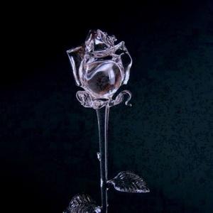 Üvegrózsa, Képzőművészet, Otthon & lakás, Szobor, Esküvő, Dekoráció, Üvegművészet,  Élethű, víztiszta üvegrózsa.\n\n400  +/- 20mm, Meska