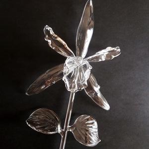 Üveg orchidea, Csokor & Virágdísz, Dekoráció, Otthon & Lakás, Üvegművészet, Élethű, víztiszta üveg orchidea., Meska