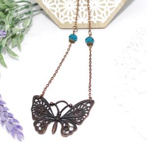 Réz pillangó, Medálos nyaklánc, Nyaklánc, Ékszer, Ékszerkészítés, Antikolt  réz színű nyaklánc,nagy méretű vintage pillangó olló medállal. A láncot, türkiz színű kris..., Meska