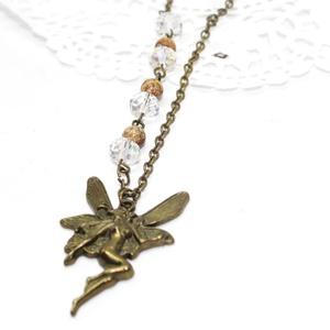 tündér nyaklánc, Medálos nyaklánc, Nyaklánc, Ékszer, Ékszerkészítés, antikolt bronz színű tündér nyaklánc, amely egy nagy tündér medálból ásványból, és üvegkristályokból..., Meska