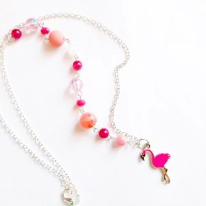 Flamingo nyaklánc, Ékszer, Nyaklánc, Gyöngyös nyaklác, Ékszerkészítés, Vidám flamingo nyaklánc, rózsaszín gyöngyökkel.  \n\nA lánc hossza: 30,5cm, (medállal)\nkerülete 54 cm\n..., Meska