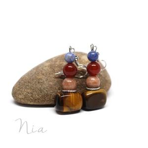 Bohém - ásványfülbevaló, Ékszer, Fülbevaló, A borús napokra terveztem ezt a vidám fülbevalót, melyet 6-15 mm-es tigrisszem, jáde, karneol és szo..., Meska