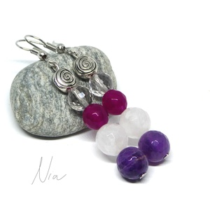 Télkirálynő - ásványfülbevaló, Ékszer, Fülbevaló, Csinos, nőies fülbevaló 8-10 mm-es csiszolt ametiszt (világos és lila), rózsakvarc és színezett jáde..., Meska