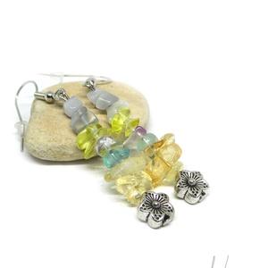 Tavaszi szél - ásványfülbevaló virággal, Ékszer, Fülbevaló, Lágy, halvány színű ásványokból, amik mind a tavaszt idézik. 5-11 mm-es citrin, fluorit, lemon kvarc..., Meska