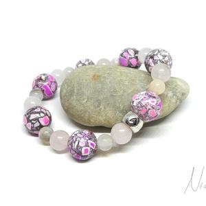 Cseresznyevirág - rózsaszín ásvány és márvány karkötő, Ékszer, Karkötő, Dekoratív, kényelmes, tavaszi ékszer, amit 6-8 mm-es rózsakvarc és achát ásványokból és 12 mm-es por..., Meska