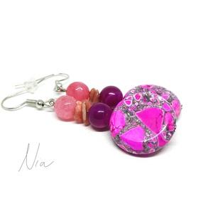 Rózsaszín fellegek - ásvány és márvány fülbevaló, Ékszer, Fülbevaló, Vidám színfolt a füledbe :) 8 mm-es színezett jáde és achát golyókból, rózsaopál darabkákból és 20 m..., Meska