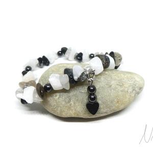 Szívkirálynő - ásványkarkötő, Ékszer, Karkötő, Könnyű kis karkötő, apró szemű, 5-12 mm-es turmalinkvarc, tejkvarc, hematit és  magnetit ásványokból..., Meska