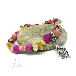 Vadvirágos réten - ásványkarkötő pávatoll medállal, Ékszer, Karkötő, Üde, élénk színű ékszer, akárcsak egy virágos rét :) **** Pici, 6-10 mm-es citrin, pink rodonit, szí..., Meska