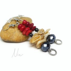 Dáma - fülbevaló mindenféléből :), Ékszer, Fülbevaló, Elegáns, ünnepies ékszer, amilyen csak Neked lesz :) 4-15 mm-es vörös korall, magnetit, kagyló split..., Meska