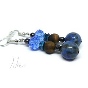 Hindu - ásvány és üvegkristály fülbevaló, Ékszer, Fülbevaló, Igazán egyedi viselet, ha kitűnnél a tömegből. **** 4-12 mm-es lápisz lazuli, matt tigrisszem és mag..., Meska