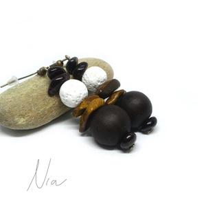 Kicsi gesztenye :) ásvány, lávakő és szantálfa fülbevaló, Ékszer, Fülbevaló, Könnyű, természetes színvilágú, bohém ékszer, a természetesség jegyében. **** 7-14 mm-es gránát és t..., Meska