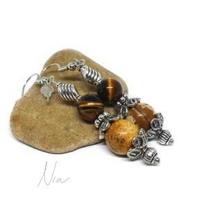 Földanya - ásványfülbevaló, Ékszer, Lógós fülbevaló, Fülbevaló, 8-10 mm-es tigrisszem és képjáspis ásványgolyókból, ezüst színű fém köztesekből készítettem, nikkelm..., Meska