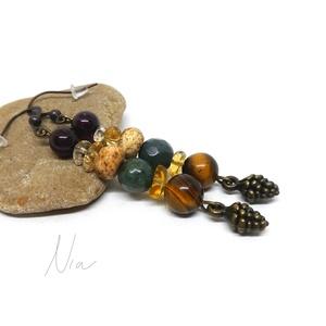 Őszillat - ásványfülbevaló tobozokkal, Ékszer, Lógó fülbevaló, Fülbevaló, Picike, 5-8 mm-es gránát, citrin, képjáspis, indiai achát és tigrisszem ásványokból készítettem, 1-1..., Meska