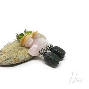 Virágcsokor - ásványfülbevaló, Ékszer, Lógós fülbevaló, Fülbevaló, 6-15 mm-es kvarc, kagylógyöngy, rózsakvarc és indiai achátok alkotják, ezüst színű fém köztesekkel d..., Meska