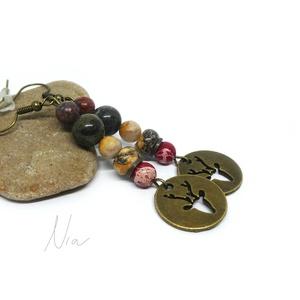 Rudolf - ásványfülbevaló szarvas medállal, Ékszer, Fülbevaló, Ékszerkészítés, Meska