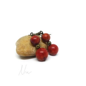 Szivacskorall fülbevaló, Ékszer, Fülbevaló, Lógós kerek fülbevaló, A szivacskorall segíthet a koleszterinszint egyensúlyának megtartásában, növeli az energiát, segíthe..., Meska