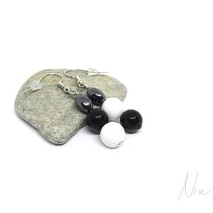 Feketén-fehéren - ásványfülbevaló - Meska.hu
