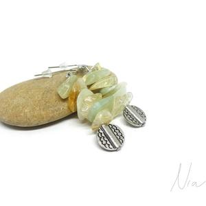 """Citruskoktél - ásványfülbevaló, Ékszer, Fülbevaló, Lógó fülbevaló, Citrom és lime színű, """"üdítő"""" ékszer nyárra :) 12-17 mm-es citrin és jáde ásványdarabokból és ezüst ..., Meska"""