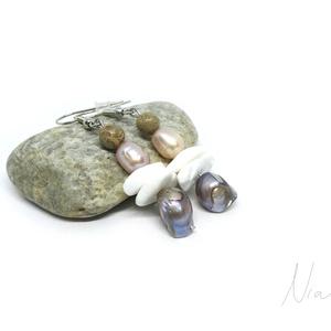 Zátony - ásvány, korall és gyöngy fülbevaló - Meska.hu