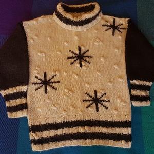 Hópelyhes női pulóver, Táska, Divat & Szépség, Ruha, divat, Női ruha, Kötés, Varrás, hópelyhes, puha, meleg, 100% gyapjú pulóver, méret: 40, saját kézzel készített, Meska
