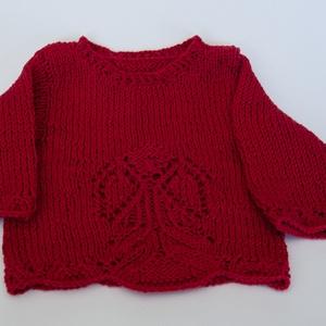 Angyalos gyermek pulóver, Pulóver, Babaruha & Gyerekruha, Ruha & Divat, Kötés, angyalos gyermek pulóver, anyaga: pamut, méret: 0-3 hónapos, 23x21 cm, Meska
