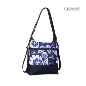 Blue flowers, Táska & Tok, Variálható táska, Víztaszító poliészterből (kék népi virágokkal) és textilbőrből készült variálható váll/hátitáska. Vá..., Meska