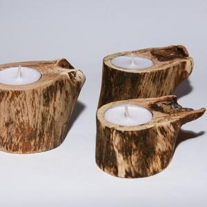 Mécsestartó / gyertyatartó / görbefa, Dekoráció, Otthon & lakás, Lakberendezés, Gyertya, mécses, gyertyatartó, Famegmunkálás, 3db bükkfából készült gyertyatartó alkotja ezt a csomagot. A mécsesek cserélhetőek, a fa csiszolva, ..., Meska