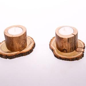 Kis fa gyertyatartó/ görbefa mécsestartó 2db-os szett, Dekoráció, Otthon & lakás, Lakberendezés, Gyertya, mécses, gyertyatartó, Ünnepi dekoráció, Famegmunkálás, Egyszerű görbefa gyertyatartó, alapja tölgyfa korong.\nA mécses egy kb 5cm magas bükk görbefában fogl..., Meska