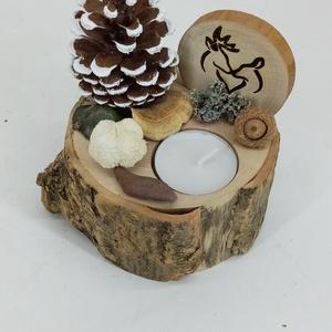 Karácsonyi asztaldísz mécsessel és lézergravírozott szarvaspárral natúr díszítéssel, Otthon & Lakás, Karácsony & Mikulás, Karácsonyi dekoráció, Famegmunkálás, Mindenmás,  Egy kb. 5 cm magas 10-12 cm átmérőjű fakorongra készítettem a karácsonyi dekorációt.\nCsak természet..., Meska