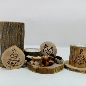 Görbefa karácsonyi dekorációs szett lézergravírozással, Otthon & Lakás, Karácsony & Mikulás, Karácsonyi dekoráció, Famegmunkálás, Mindenmás,  Három darabból álló karácsonyi dekorációs szett, mely két lézergravírozott görbefa mécsestartóból é..., Meska