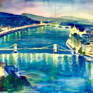"""Natúr selyem  sál-festmény """"Ragyogó Budapest""""147x53cm, Táska, Divat & Szépség, Ruha, divat, Magyar motívumokkal, Sál, sapka, kesztyű, Sál, Selyemfestés, """"Nyakamon van az egész Budapest!""""-mondhatja ennek a selyem sálnak a tulajdonosa - és igaza lesz!A se..., Meska"""