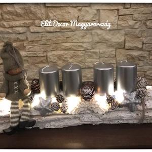 30cm-es ledvilágításos ezüst adventi dísz, Otthon & lakás, Dekoráció, Ünnepi dekoráció, Húsvéti díszek, Mindenmás, Ledvilágításos ezüst adventi dísz vásárolható és rendelhető más színvilágban is. 30 cm hosszú a dísz..., Meska
