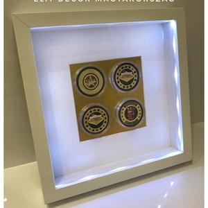 pókerzseton képkeret, Férfiaknak, Legénylakás, Hagyományőrző ajándékok, Mindenmás, 23*23 cm-es keretben gyönyörű zsetonok aray alapon led-világítással. Dekoráció és ajándéknak is töké..., Meska