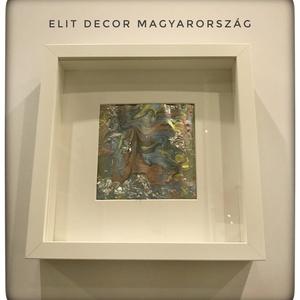 Akril festmény, Otthon & lakás, Képzőművészet, Festmény, Festett tárgyak, Absztrakt akril festmény süllyesztett képkeretben öntött technikával készített 23*23 cm-es., Meska