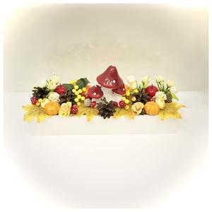 Gombás faládikó, Otthon & Lakás, Dekoráció, Asztaldísz, 35 cm-es fa láda őszi díszekkel. Szép őszi dekoráció. www.elitdecor.hu, Meska