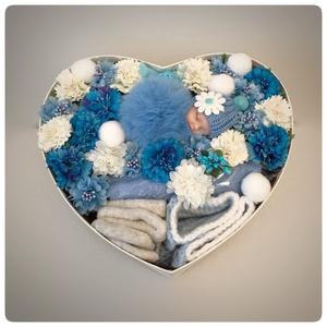 Babaváró doboz kisfiúknak, Játék & Gyerek, Babalátogató ajándékcsomag, 25 cm-es gyönyörű dobozban hasznos termékek dekorációval. Keresse webáruházunkat: www.elitdecor.hu..., Meska