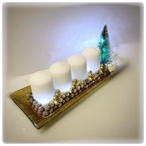 Arany üvegtál ledvilágítással, Karácsony & Mikulás, Karácsonyi dekoráció, Arany üvegtál ledvilágítással. 35 cm hosszú, cserélhető gyertyákkal, ledvilágítással.  látogasson el..., Meska
