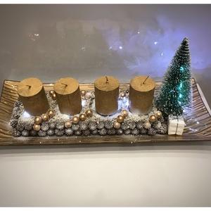 Arany tálcás dísz ledvilágítással, Karácsony & Mikulás, Karácsonyi dekoráció, 35 cm-es arany adventi dísz ledvilágítással. Üveg alapra készített gyertyatüskés adventi dísz cserél..., Meska