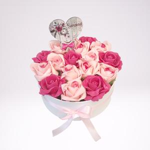 Rózsaszin habrózsás virágdoboz, Művészet, Rózsaszín rózsák fehér dobozban. 22 cm széles fehér dobozban cirmos rózsaszín rózsák. Magassága 12 c..., Meska