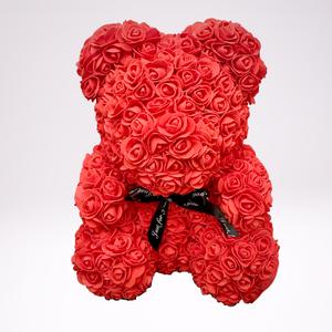 40 cm-es piros rózsa maci, Otthon & Lakás, Dekoráció, 40 cm-es piros rózsa maci, igényesen kézzel készült virág maci.  Keresse webshopunkat:  www.elitdeco..., Meska