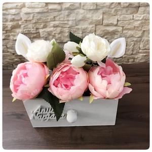 Vintage stílusú anyáknapi virág-fiók, Otthon & Lakás, Dekoráció, Vintage stílusú anyáknapi virág-fiók. Gyönyörű és egyedi ajándék anyáknapjára. Kála, peonia, bazsaró..., Meska
