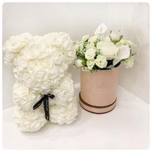 25 cm-es fehér virág maci, Művészet, Más művészeti ág, Ha igazán különleges ajándékot szeretne ajándékozni, válassza a kézzel készült rózsa macit. Több szá..., Meska